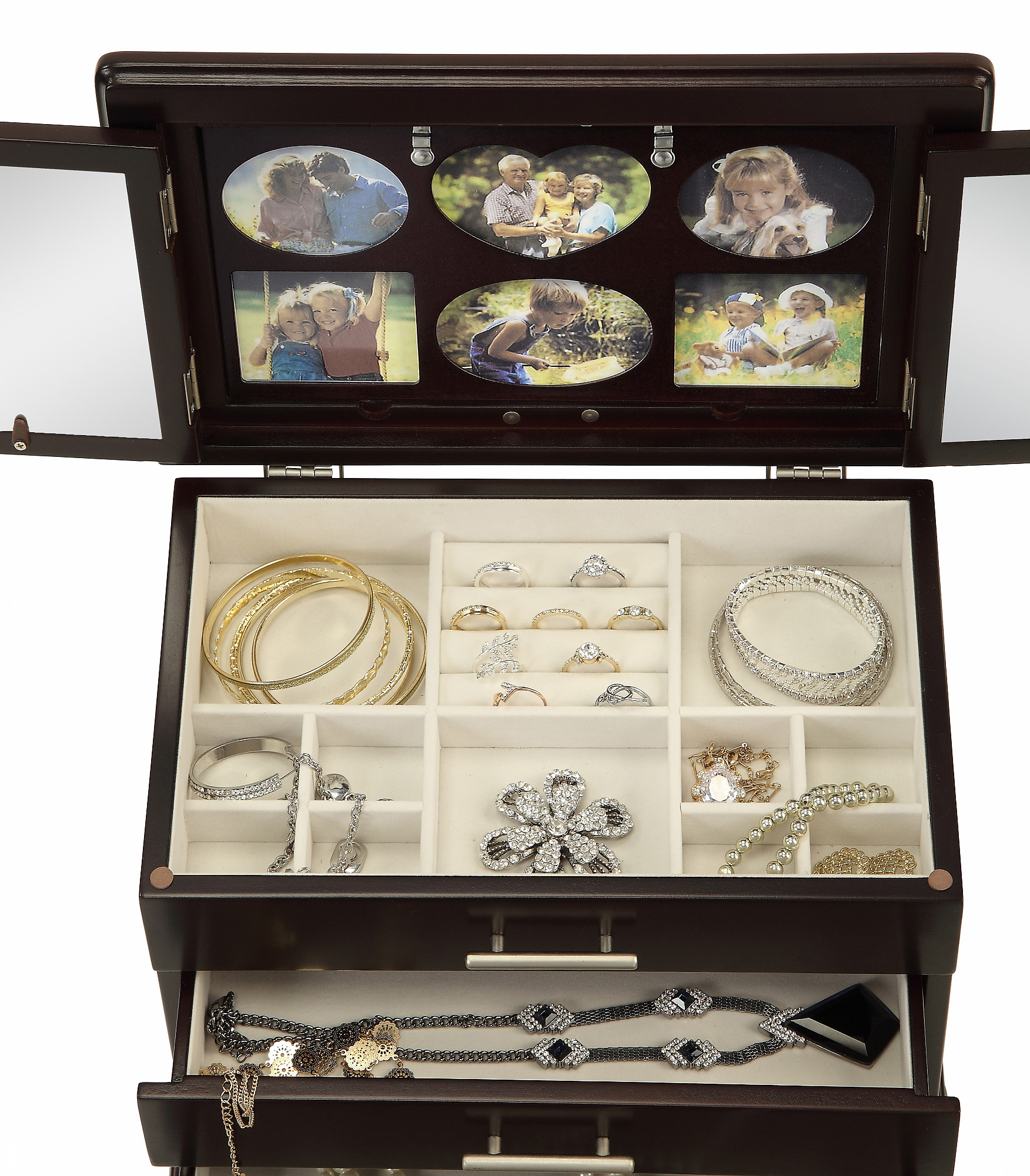 Memories Picture Photo Frame Jewelry Box With 2 Mirrors And Collage