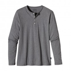 See M's L/S Daily Henley in Feather Grey
