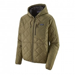 See M's Diamond Quilted Bomber Hoody in Sage Khaki