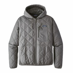 See M's Diamond Quilted Bomber Hoody in Hex Grey