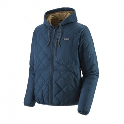See M's Diamond Quilted Bomber Hoody in Stone Blue