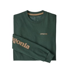 See M's L/S Text Logo Responsibili-Tee in Alder Green