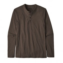 See M's L/S Daily Henley in Logwood Brown