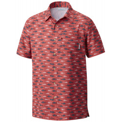 See Super Slack Tide Camp Shirt in Sunset Red Amer