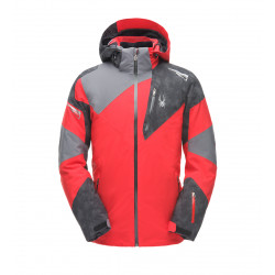 See Leader Jacket Mn in Red Cloudy Reflective Distress Prt Polar
