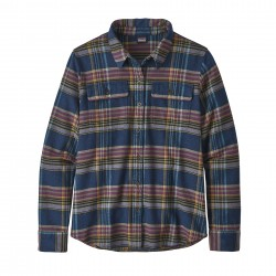 See W's L/S Fjord Flannel Shirt in Cabin Time: Stone Blue