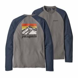 See M's Line Logo Ridge LW Crew Sweatshirt in Feather Grey w/Dolomite Blue