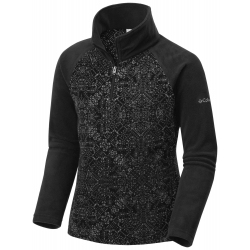 See Glacial II Fleece Print Half in Black Snowflake
