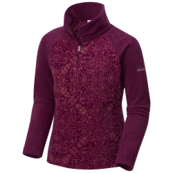 See Glacial II Fleece Print Half in Dark Raspberry
