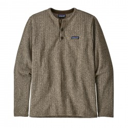 See M's Better Sweater Henley P/O in Pale Khaki Rib Knit