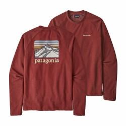 See M's Line Logo Ridge LW Crew Sweatshirt in Oxide Red