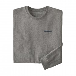 See M's L/S Text Logo Responsibili-Tee in Gravel Heather