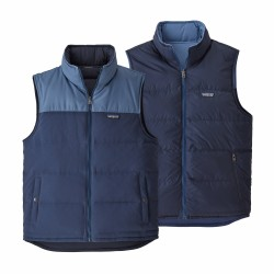 See M's Reversible Bivy Down Vest in Stone Blue w/Woolly Blue