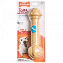 Nylabone Dura Chew Barbell Chew Toy - Peanut Butter Flavor Image
