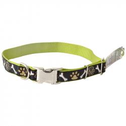 Pet Attire Ribbon Adjustable Nylon Dog Collar with Metal Buckle - Brown Paws & Bones Image