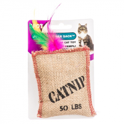 Jute & Feather Sack with Catnip Image
