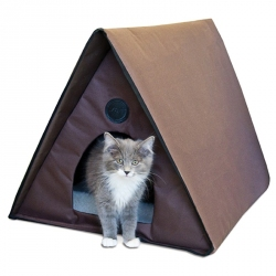 K&H Outdoor Heated Multi-Kitty A-Frame Cat House Image