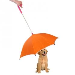 Pet Life Drip-Proof Pet Umbrella - Orange w/ Pink Handle Image