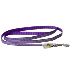 Lazer Brite Reflective Open-Design Dog Leash - Purple Daisy Image