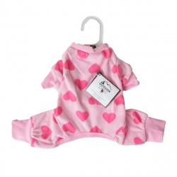 Lookin Good Heart Fleece Dog Pajamas - Pink Image