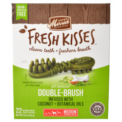 Merrick Fresh Kisses Coconut Oil Double-Brush Dental Treats - Medium Image