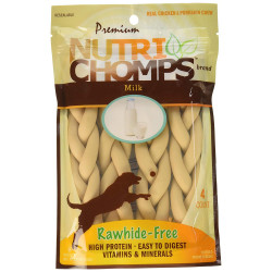 Premium Nutri Chomps Milk Flavor Braid Dog Chews - Small Image