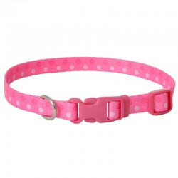 Pet Attire Styles Adjustable Dog Collar - Polka Dot Pink Image