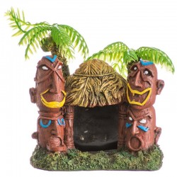 Exotic Environments Betta Hut with Palm Trees Aquarium Ornament Image