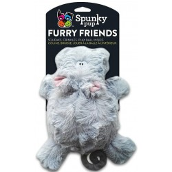 Spunky Pup Furry Friends Hippo with Ball Squeaker Dog Toy Image
