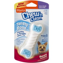 Hartz Chew N Clean Twisty Bone Flexible And Durable Bacon Scented Dog Chew Toy Image
