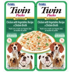 Inaba Twin Packs Tuna and Chicken with Vegetables Recipe in Chicken Broth Side Dish for Dogs Image