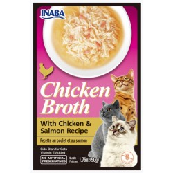 Inaba Chicken Broth with Chicken and Salmon Recipe Side Dish for Cats Image