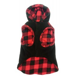 Outdoor Dog Toggle Plaid Trim Dog Coat - Black Image