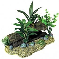 Exotic Environments Log Cavern Jungle Floral Aquarium Ornament Image