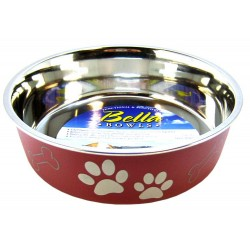 Loving Pets Merlot Stainless Steel Dish With Rubber Base Image