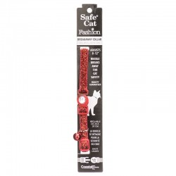 Safe Cat Jeweled Adjustable Breakaway Cat Collar - Red Glitter Image