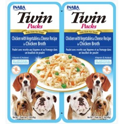 Inaba Twin Packs Chicken with Vegetables and Cheese Recipe in Chicken Broth Side Dish for Dogs Image