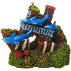 Blue Ribbon Exotic Environments Shark Shipwreck Aquarium Ornament Image