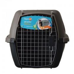 Aspen Pet Porter Heavy-Duty Pet Carrier Storm Gray and Black Image