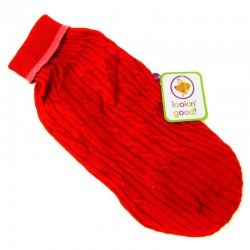 Fashion Pet Classic Cable Knit Dog Sweaters - Red Image