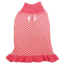 Fashion Pet Stripes & Ruffles Dog Sweater - Pink Image