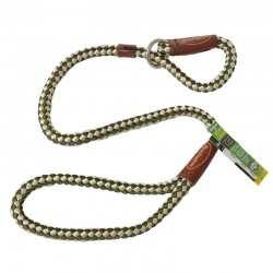 Remington Braided Rope Slip Lead Leash - Green & White Image