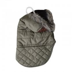 Outdoor Dog Leather Detail Dog Coat - Olive Green Image