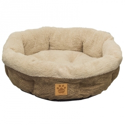 Precision Pet Snoozzy Natural Surroundings Shearling Round Pet Bed - Coffee Image