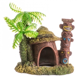 Exotic Environments Betta Hut with Palm Tree Aquarium Ornament Image