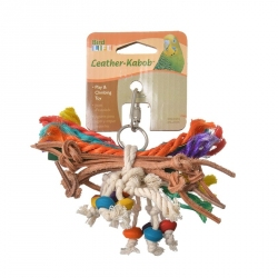 Penn Plax Bird Life Leather-Kabob Toy for Parakeets Image