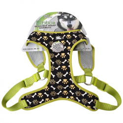 Pet Attire Ribbon Designer Wrap Adjustable Dog Harness - Brown Paw & Bones Image