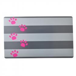 Petmate Plastic Food Mat - Gray Stripe & Pink Paw Image