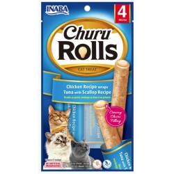 Inaba Churu Rolls Cat Treat Chicken Recipe wraps Tuna with Scallop Recipe Image