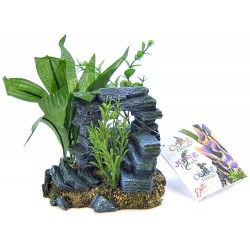 Blue Ribbon Rock Arch with Plants Aquarium Ornament Image